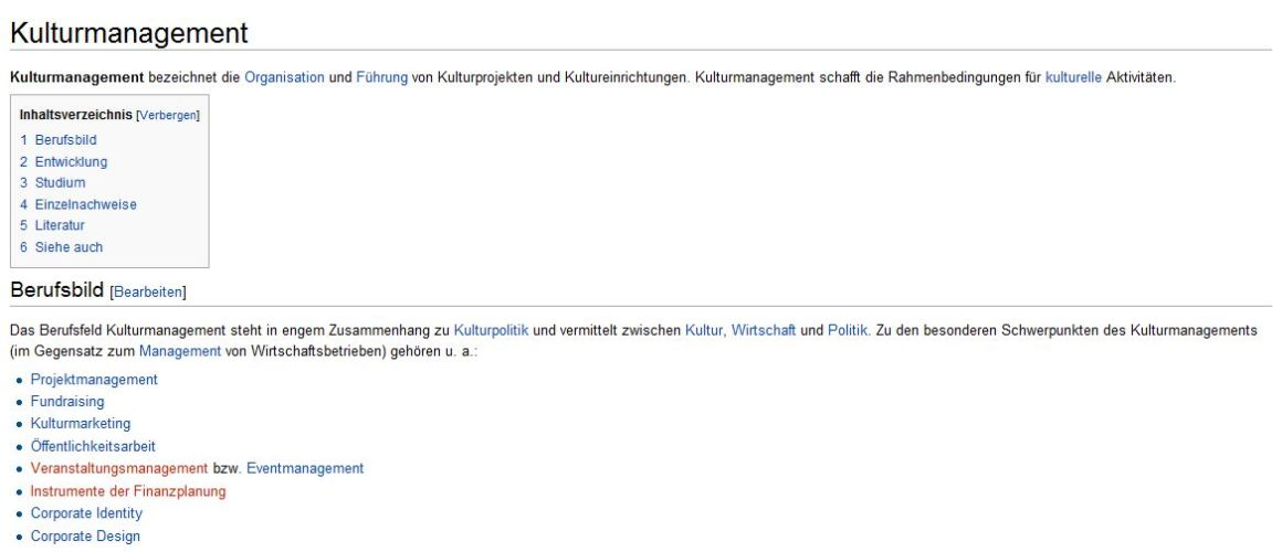 kulturmanagement auf wikipedia schlimmer geht es nicht. Black Bedroom Furniture Sets. Home Design Ideas