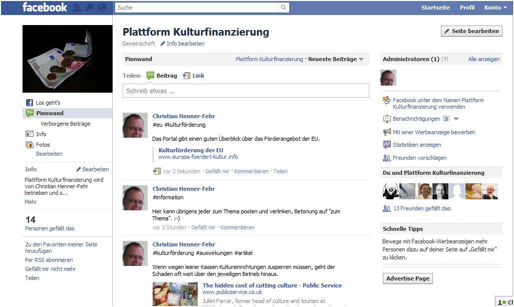 FB-Seite: Plattform Kulturfinanzierung