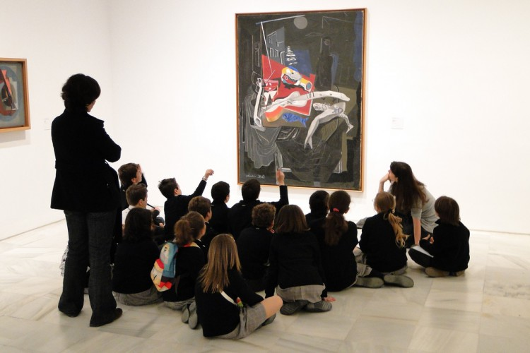 Children and Teachers by Abstract Painting - Museo Reina Sofia - Madrid, Spain